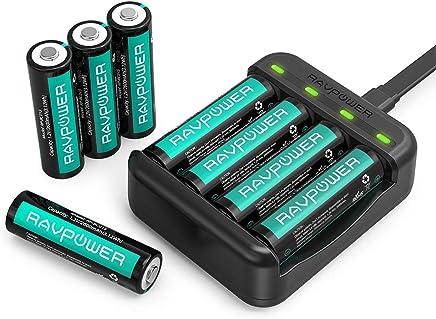 RAVPower Piles AA Rechargeable Lot de 8 avec Chargeur Batteries AA 2600mAh Haute Capacité Ni-MH avec 4 Slots de Chargement pour Piles AA Piles AAA