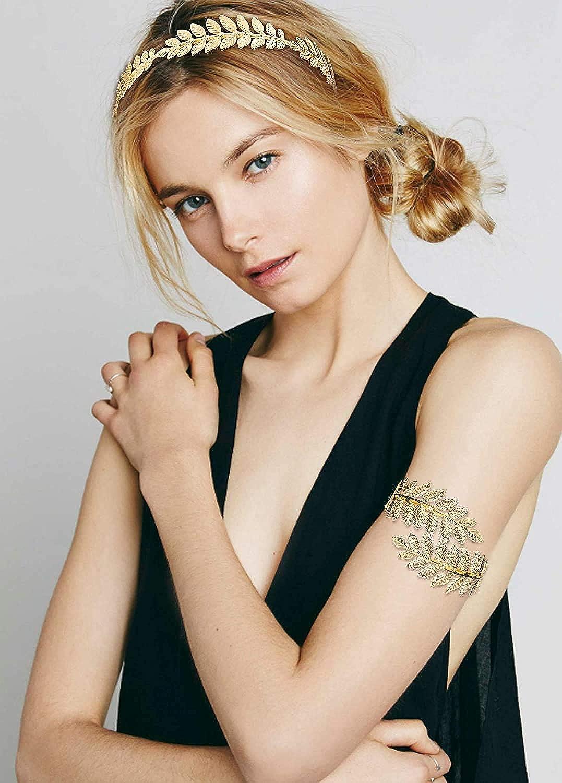 FUNRUN JEWELRY 4PCS Greek Goddess Headband Arm Cuff Bridal Jewelry Set Roman Laurel Leaf Branch Crown Armlet Upper Arm Band Bracelet for Women Party