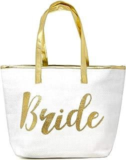 Me Plus Bride Metallic Trimmed Large Beach Tote Bag Zipper Closure Inner Pocket Gold, Silver, Rose Gold
