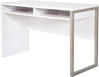 Interface Desk – Sleek Metal Finish – Open Storage for Laptop and Tablet – Pure White - by South Shore