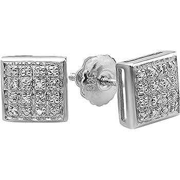 Diamond Unisex Kite Cluster Stud Earrings 1//20ct 925 Sterling Silver