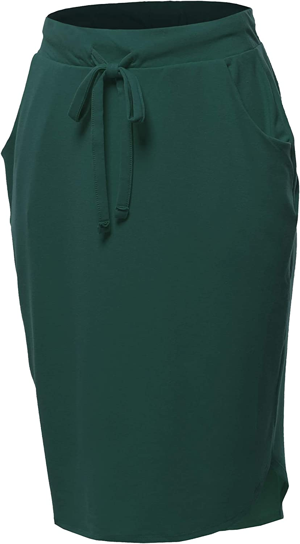 A2Y Women's Elastic Waist Self Tie Tulip Hem Side Pocket Skirt