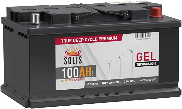 Solis Gel Batterie 100ah 12v Solar Boot Wohnmobil Elektronik