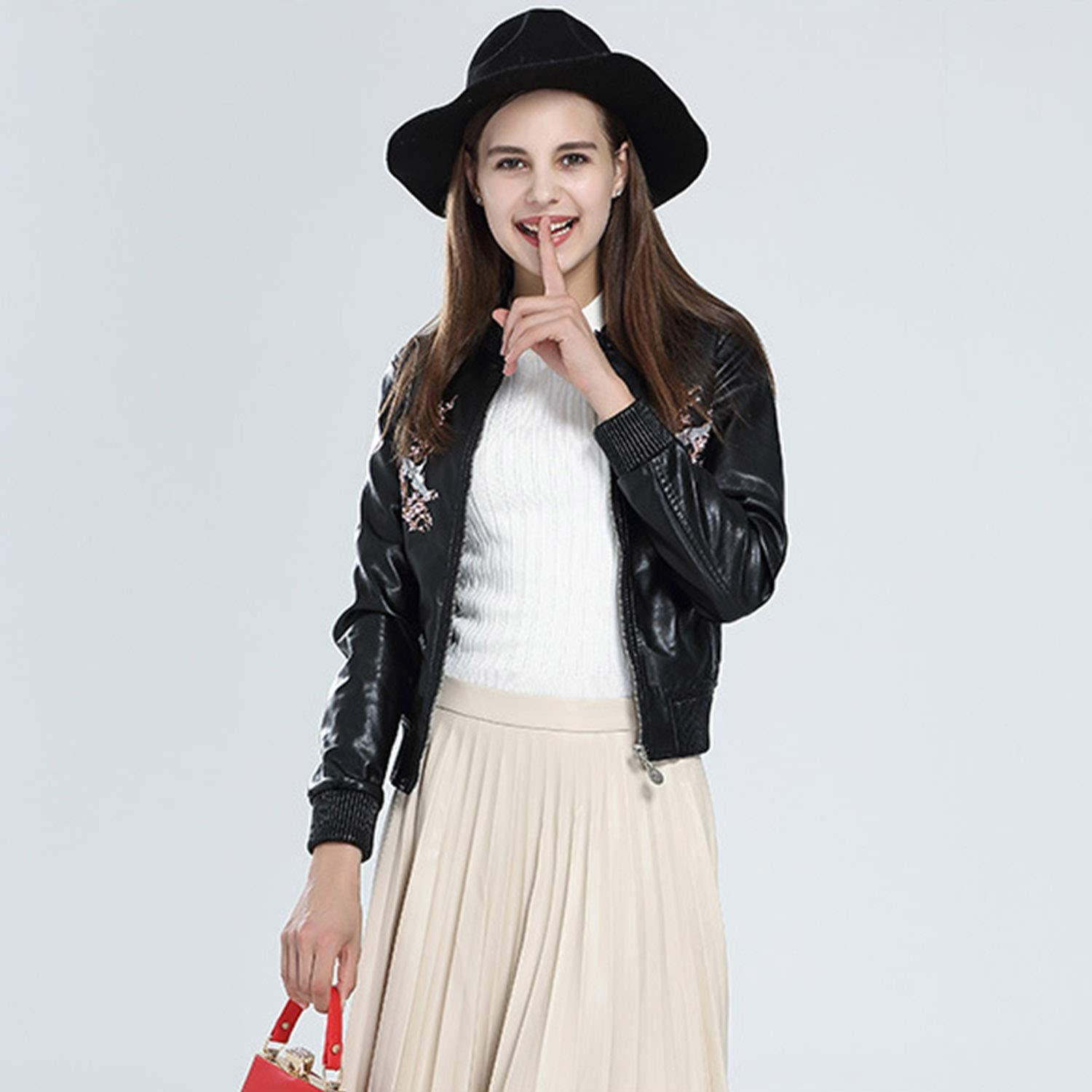Simple Fashion Spring Autumn Leather Jacket,Pure color Embroidery Zip Up Round Collar Biker Coat Ideal for Ladies Girls Outwear