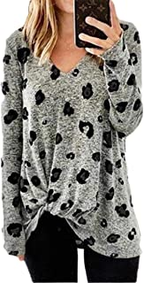 HEFASDM Women's Casual Floral Print V-Neck Blouse Oversized Long-Sleeve Tees Top