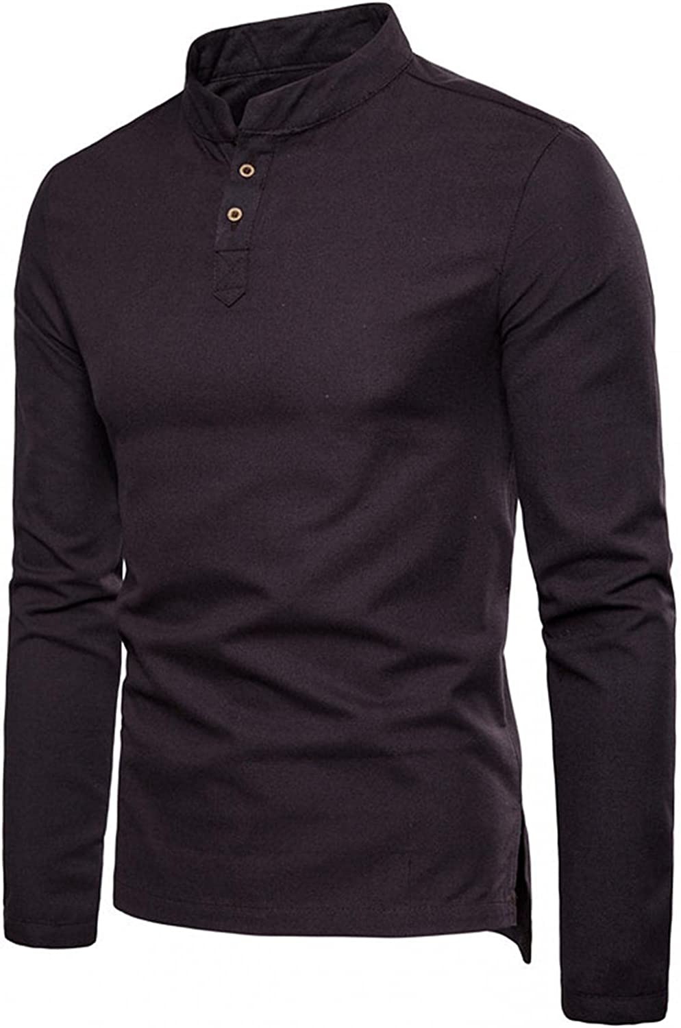 Henley Tops for Men Long Sleeve Stand Collar Button Down Shirts Casual Loose Pullover Sweatershirts Soft Cozy Linen Tee