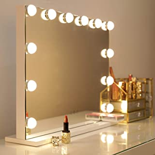 WAYKING Makeup Mirror with Lights, Hollywood Lighted Vanity Mirror with Touch Screen Dimmer, Large Tabletop Mirror with USB Charging Port, Adjustable 3 Color Lighting, White (L22.83 x H17.32 inch) …