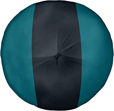 ArtVerse NFS Jacksonville Football Stripes Floor Pillow - Round Tufted, 30 x 30, Teal and Black