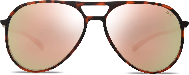 SOJOS Classic Polarized Ultra Lightweight Flexible Aviator Men Women Sunglasses JOURNEY SJ2065