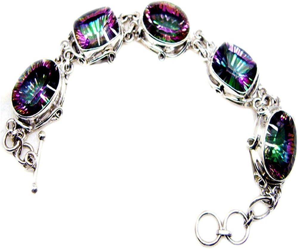Mystic Quartz 925 Sterling Silver Shape Bracelet Mixed Gemstone Sale Super special price item