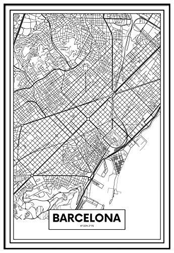 Panorama Cuadro Enmarcado Mapa Ciudad Barcelona 50x70cm - Impreso en Papel Rígido Cuadro con Marco - Cuadros Modernos Decoración Salón - Cuadros para Dormitorio - Póster Decorativos