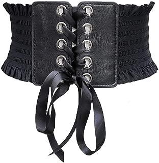 Womens PU Leather Elastic Stretch Cincher Corset High Waist Belt Wide Lace up Band