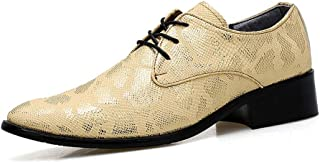 CAIFENG Business Men's Oxford Casual Fashion Snake Skin Upper Cómodo Soft Soft Pointed Formal Shoes (Color : Gold, Size : ...
