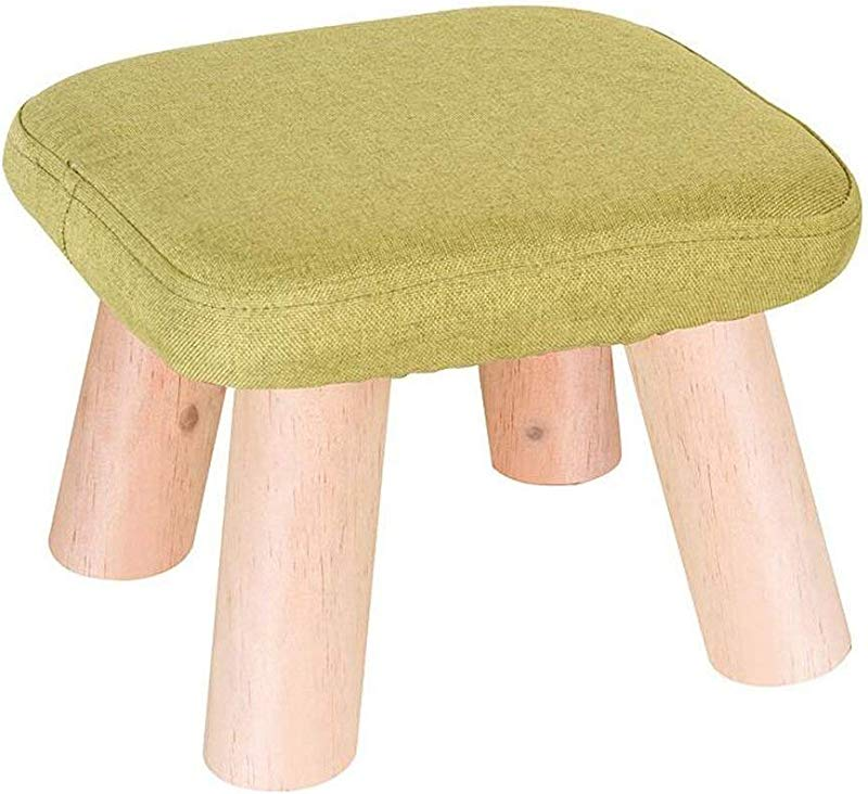 Carl Artbay Wooden Footstool Square Green Solid Wood Four Legged Stool Coffee Table Stool Home