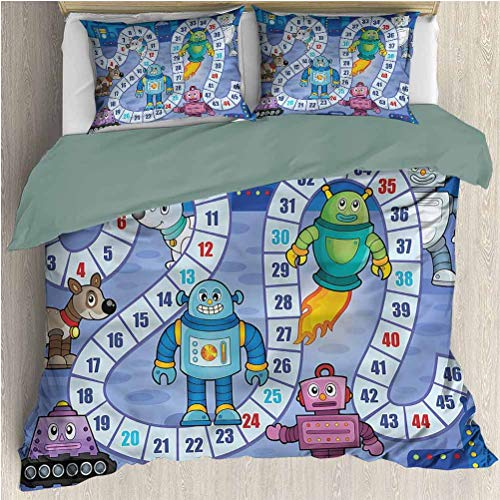House Duvet Cover Set, Decorative 3 Piece Bedding Set with 2 Pillow Shams, Board Game Futuristic Robots Mechs, Twin Size