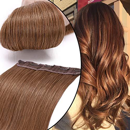 Extension Capelli Veri Clip Fascia Unica One Piece Hair Extensions Remy Human Hair Naturali Umani Lunghi Lisci (20' 50cm 50g 30 Marrone Medio)