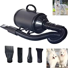 C&WDog Dryer Noise Reduction Pet Dryer with Heater Dog Blower 3.2HP Adjustable Speed and Temperature Spring Hose and 4 Different Nozzles