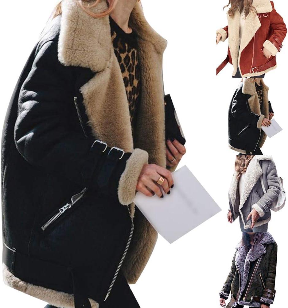 dSNAPoutof Women Blazer Jacket, Winter Faux Leather Plush Fleece Long Sleeve Lapel Zipper Fashion Warm Coats for Girls Party Outerwear Travel Shopping Street Wear Black XXXL