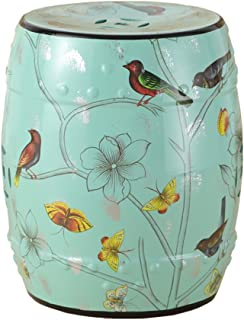 Yxsdd New Classical Dressing Stool Chinese Style Change Shoes Bench Round Small Stool Hand-Painted Flowers and Ceramic Dru...