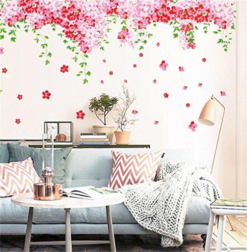 Romántico Cherry Blossom Pegatinas de Pared Flores Rojas Rosadas,Hojas Verdes, Mariposas,Palabras Decorativas Letras Grandes Decorativos Coloridos Vinilo de la Pared Calcomanías Sala de Estar, Dormitorio