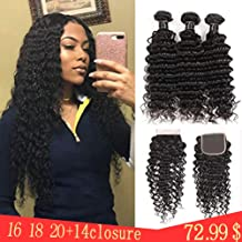 Brazilian Virgin Deep Wave Hair Bundles With Closure 9A Grade 100% Unprocessed Deep Curly Human hair 3 Bundles With 44 Lace Closure Free Part(16 18 20+14closure)