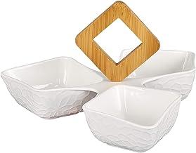 Shallow Porcelain 3 Comp. Serving Bowl 24.5x24.5x13 PJ00967-N