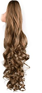 SEIKEA 24 Inch Ponytail Extension Synthetic Hairpiece Jaw Clip Claw in -Brown Blonde Mix