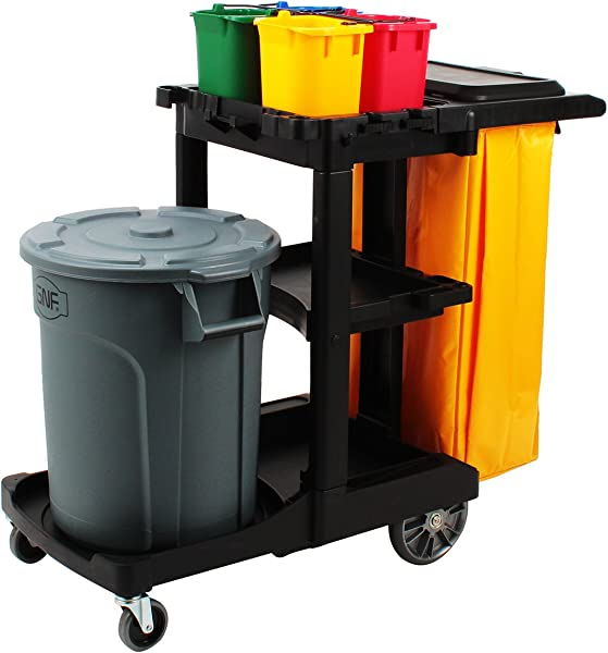 AMENITIES DEPOT Housekeeping 3 Shelf Cart Plastic Cleaning Utility Cart SQC 01