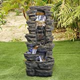 "Chillscreamni Showering Outdoor Fountain - 40"" High Rockery Shower Outdoor Water Fountain with LED Lights for Home&Office Decor, Stacked Rock Cascading Relaxation Garden Fountain for Garden, Yard"