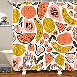 Homemissing Obst Duschvorhang 180x180cm Erdbeere Wassermelone für Kinder Erwachsene Niedliche Papaya Zitrone Pitaya Duschvorhang Textil Karikatur Tropisch Obst wasserdichte Gardinen Bunte Raumdekor