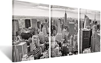 Kreative Arts - Black and White The Empire State Building in Manhattan Photography Canvas Wall Art Print 3 Pieces Modern Framed Photo Ready to Hang