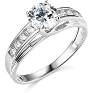 TWJC 14k Yellow OR White Gold... TWJC 14k Yellow OR White Gold Solid Wedding Engagement Ring