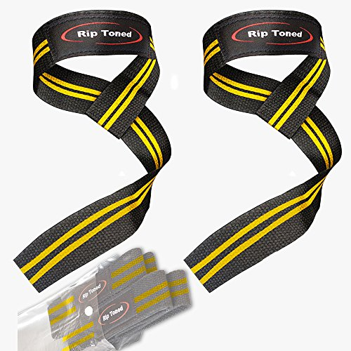 Rip Toned Lifting Straps (Pair) - Normal or Small Wrists - Bonus Ebook - Cotton Padded - Weightlifting, Crossfit, Bodybuilding, Strength Training, Powerlifting (Black/Yellow)