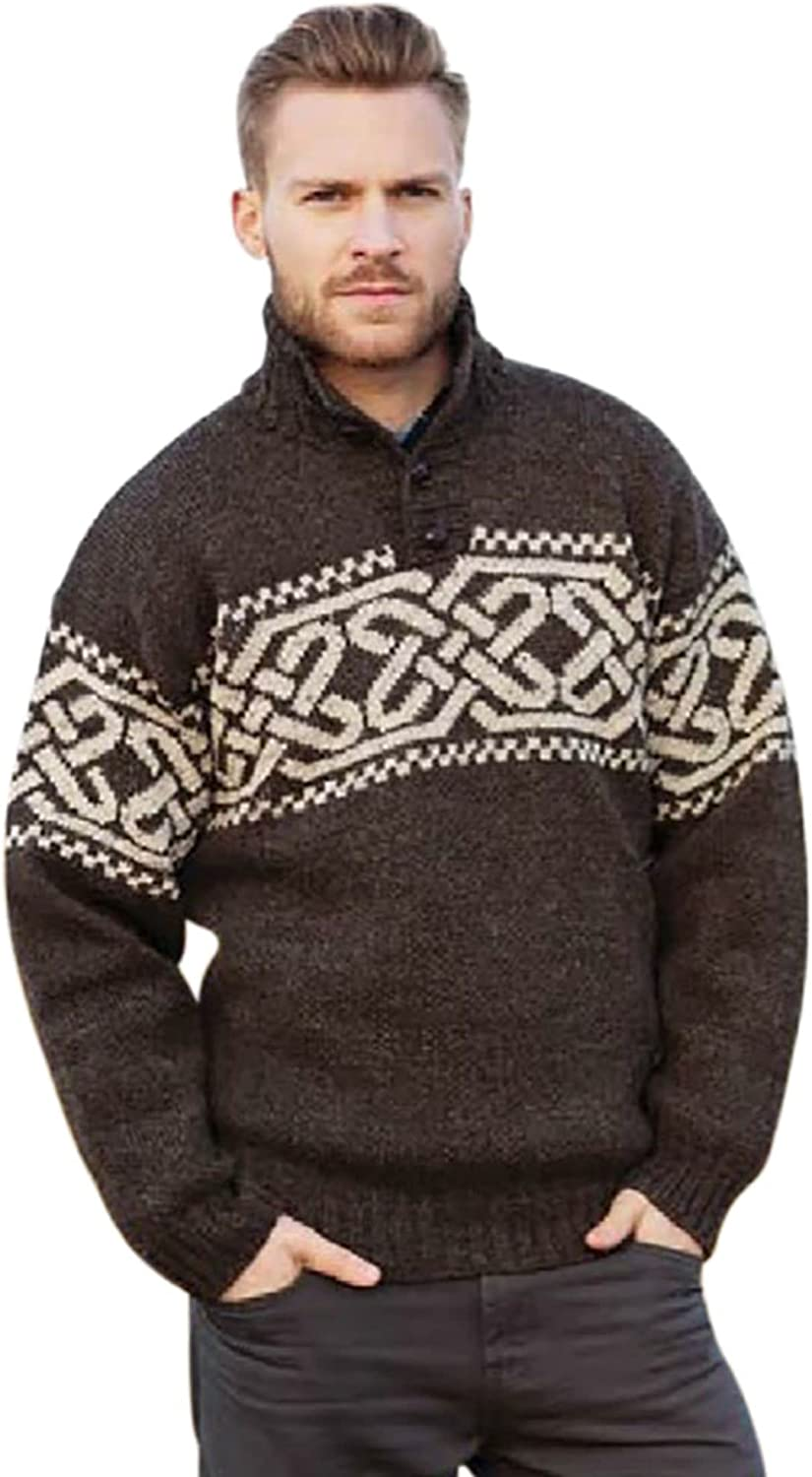 Irish Celtic Sweater for Men's Wool Fisherman Troyer Pullover Made in Ireland