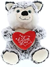 DolliBu Sitting Husky I Love You Valentines Stuffed Animal - Heart Message - 10 inch - Wedding, Anniversary, Date Night, Long Distance, Get Well Gift for Her, Him, Kids - Super Soft Plush