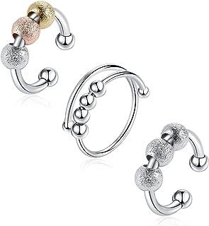 AIDSOTOU 3 قطع خاتم فضة القلق مع الخرز للنساء الرجال خواتم تفاعل التوتر الدوار خواتم الخرزة مفتوحة قابلة للتعديل