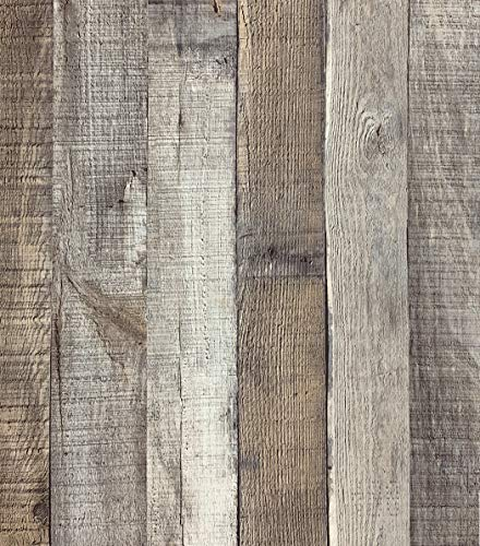 """Distressed Wood Wallpaper Peel and Stick Wallpaper 17.71"""" x 118"""" Self Adhesive Wood Wallpaper Reclaimed Vintage Faux Plank Look Wood Film Shiplap Cabinet Vinyl Removable Decorative Home"""