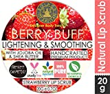 SolaceDeArtisan Berry Buff Lightening & Smoothing Lip Scrub, Strawberry Powder & Jojoba Oil