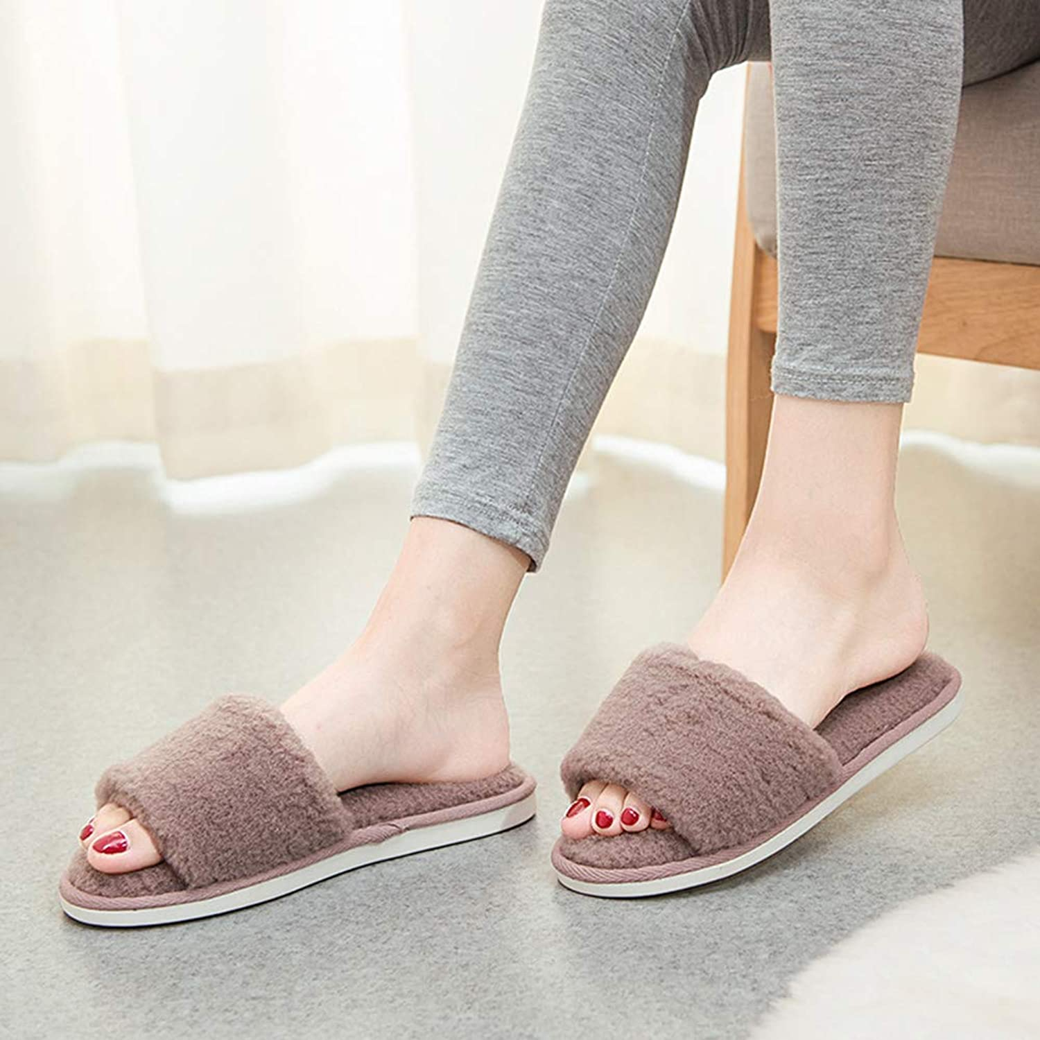 Flip Flop Non-Slip Keep Warm Cotton Slippers Autumn and Winter Fleece Slippers Indoor Non-Slip Warm Cotton Slippers Winter Soft and Comfortable Western Style (color   D, Size   35-37yards)