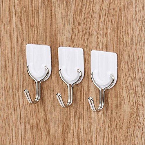 Vovotrade® 6PCS Fort Adhésif Crochet Porte Murale Porte-Porte-clés Collant Cuisine Salle De Bains Blanc Strong Adhesive Hook Wall Door Sticky Hanger Holder Kitchen Bathroom White (White)