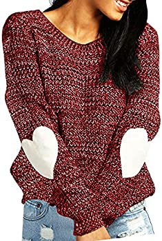 shermie Women s Cute Heart Pattern Patchwork Casual Long Sleeve Round Neck Knits Sweater Pullover Thick Red L