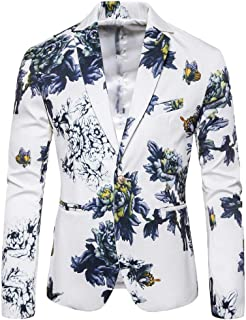 Mens Floral Print Dress Suit Coat Casual Blazer Slim Fit Suits Jacket Goosun Formal One Button Dinner Party Wedding Blazer...
