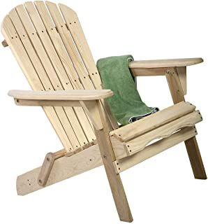 StarsDeals Outdoor Wood Adirondack Chair Foldable w/Pull Out Ottoman Patio Furniture
