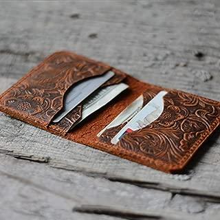Personalized Minimalist Bifold Wallet Men's Minimalist Card Holder Distressed Leather Wallet Brown