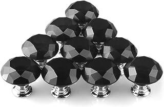 Perillas de cristal MAIKEHOME 10 X 30 MM de cristal acrílico Puerta de gabinete de corte de diamantes Perilla de cajón de...