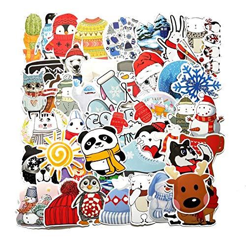 RSZHHL Autoaufkleber 50pcs Winter Schöne Cartoon Schnee Aufkleber für Koffer Skateboard Tragbares Gepäck Kühlschrank Telefon DIY Stil Aufkleber Aufkleber