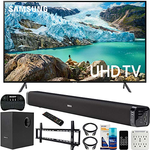 Samsung UN65RU7100 65-inch RU7100 LED Smart 4K UHD TV (2019) Bundle with Deco Gear Soundbar with Subwoofer, Wall Mount Kit, Deco Gear Wireless Keyboard, Cleaning Kit and 6-Outlet Surge Adapter