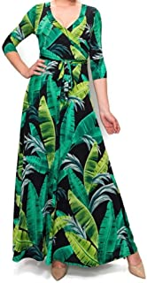 Black Green Banana Leaves Faux Wrap Maxi Dress