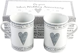 25th Silver Wedding Anniversary Gift Set Ceramic Mugs By Haysom Interiors
