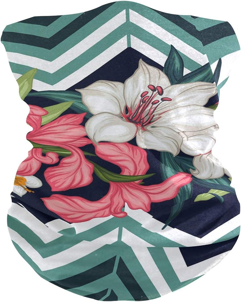 ALAZA Tropical Leaf Blossom Flower Flamingo Headwear Magic Scarf Headband Bandana Neck Gaiters Outdoor Sports for Women Man